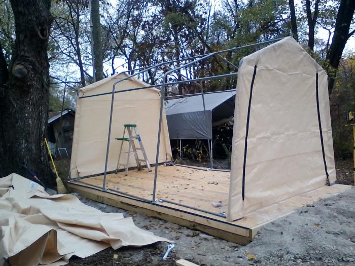 Shelterlogic Autoshelter 1015 Portable Garage With Tan