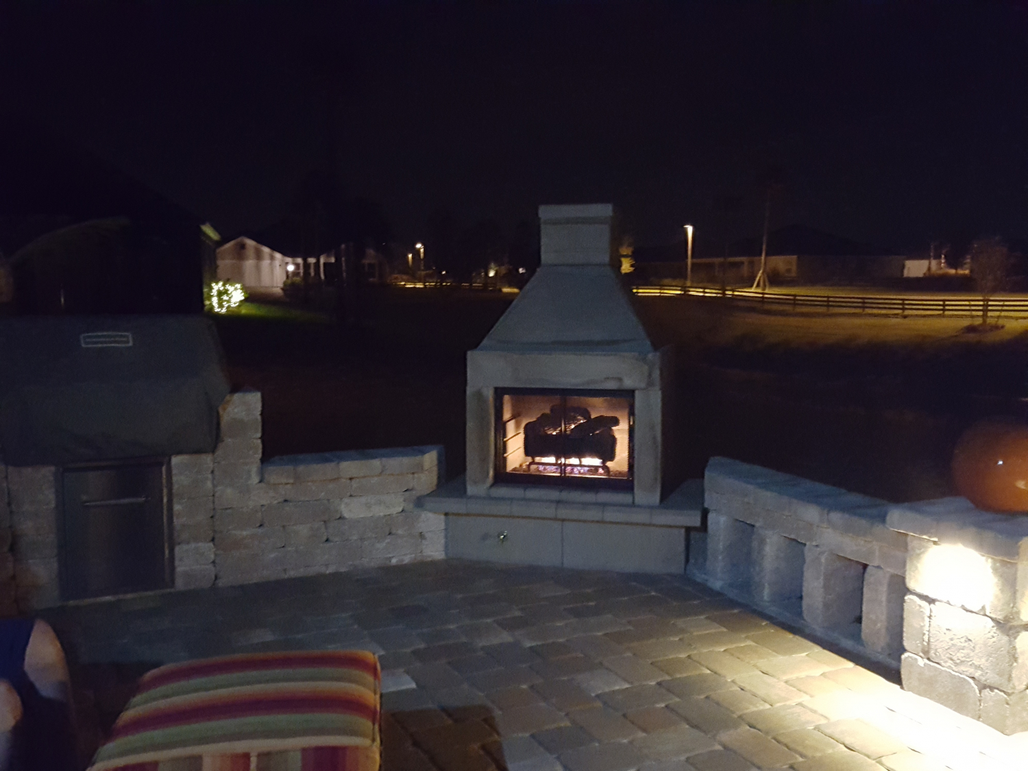 Mirage Stone Open Face Outdoor Gas Fireplace With Gas Logs And Burner