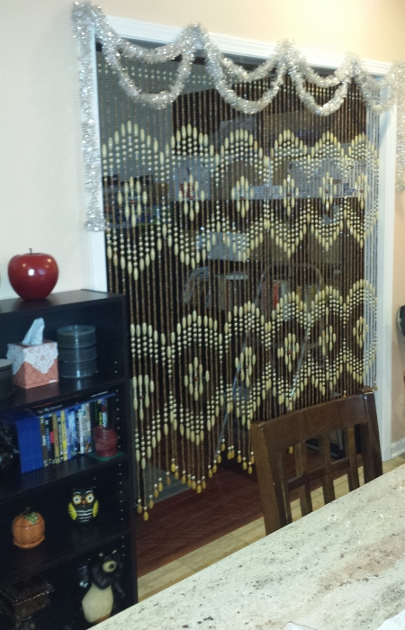 Walk Through Wooden Door Curtain With 31 Beaded Strands