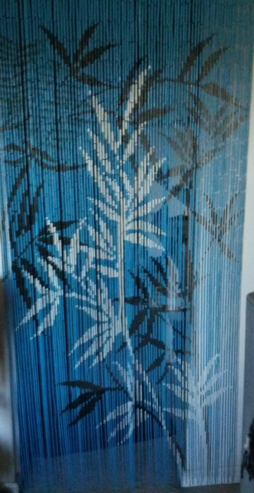 Blue Beaded Curtain Painted Scene Blue Background Curtain