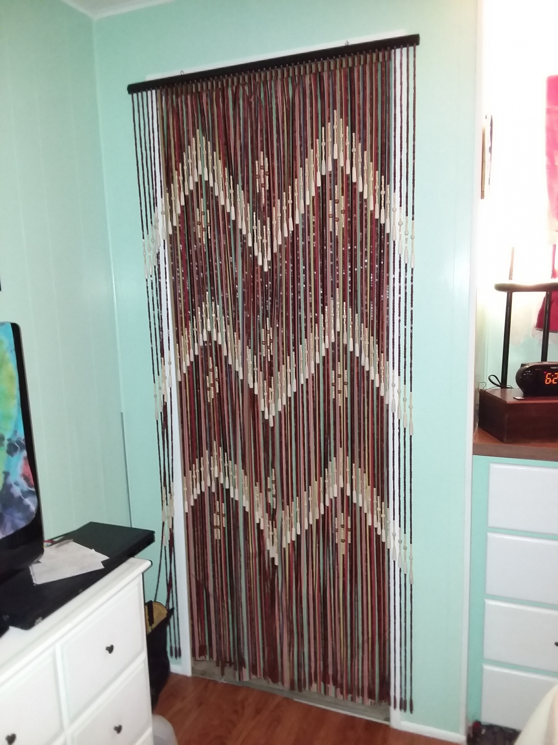Wooden Door Beaded Curtain Multi Colored Beads Shopwildthings