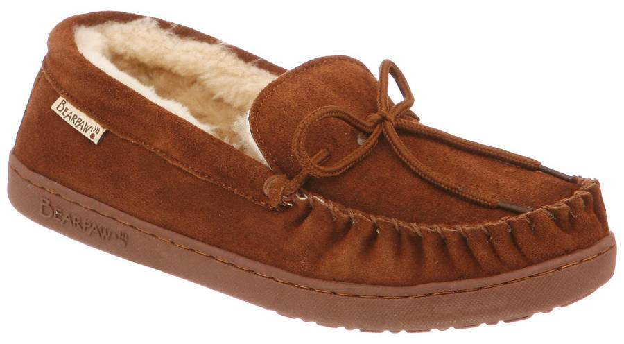 The Bearpaw Moc II Men's Moccasin Slippers will provide the warm and  comfort that you'll want to take to the office with you. Featuring a cow  suede upper ...
