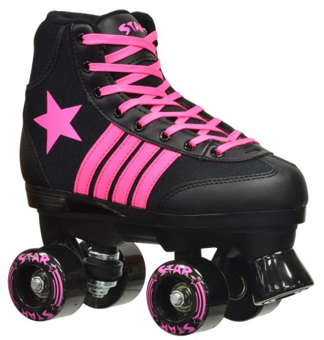 Epic Star Vela Black & Pink Kids' Quad Roller Skates