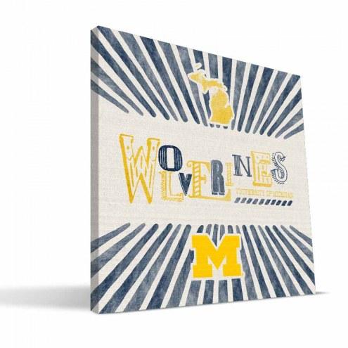 Michigan Wolverines State Canvas Print
