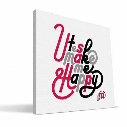 Utah Utes Happy Canvas Print