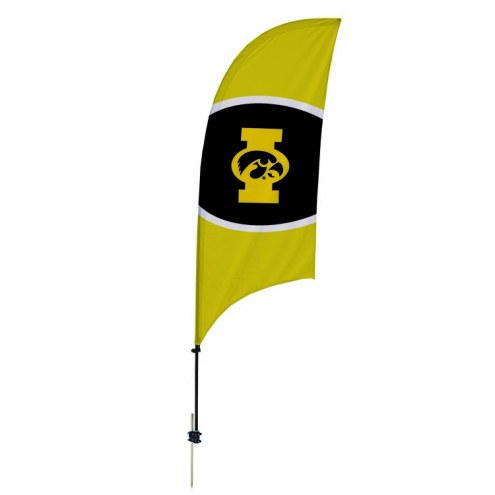 Iowa Hawkeyes 7.5' Razor Feather Flag with Ground Spike