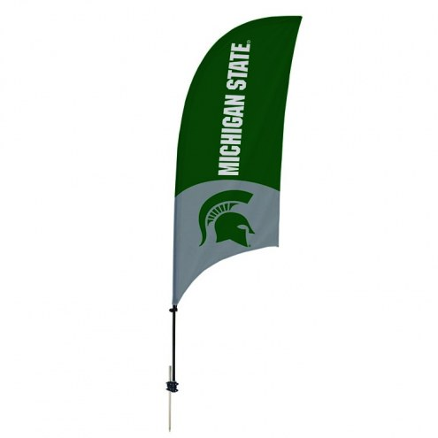 Michigan State Spartans 7.5' Razor Feather Flag with Ground Spike