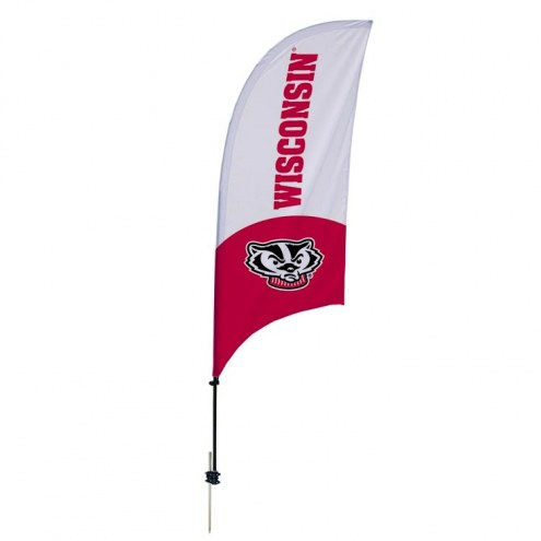 Wisconsin Badgers 7.5' Razor Feather Flag with Ground Spike