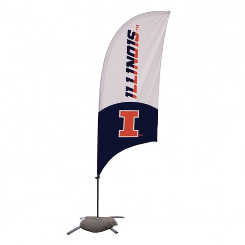 Illinois Fighting Illini 7.5' Razor Feather Flag with Cross Base