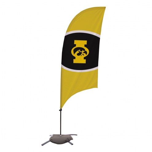 Iowa Hawkeyes 7.5' Razor Feather Flag with Cross Base