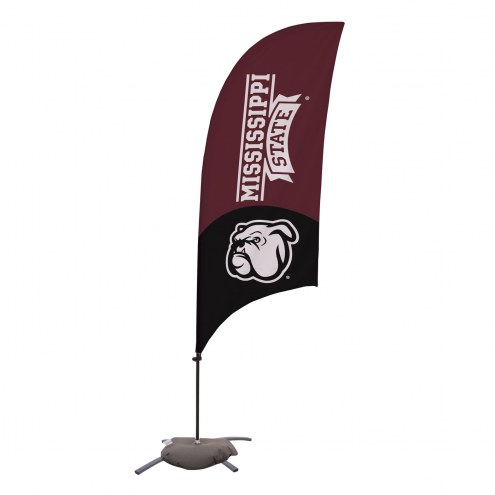 Mississippi State Bulldogs 7.5' Razor Feather Flag with Cross Base