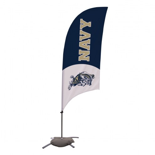 Navy Midshipmen 7.5' Razor Feather Flag with Cross Base