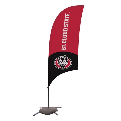 St. Cloud State Huskies 7.5' Razor Feather Flag with Cross Base