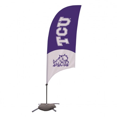 Texas Christian Horned Frogs 7.5' Razor Feather Flag with Cross Base