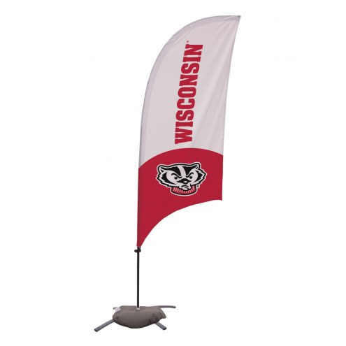 Wisconsin Badgers 7.5' Razor Feather Flag with Cross Base