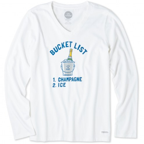 Life is Good Women's Bucket List Champagne Crusher Long Sleeve Shirt
