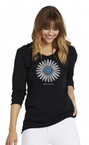 Life is Good Women's Primal Daisy Hooded Smooth Long Sleeve Shirt