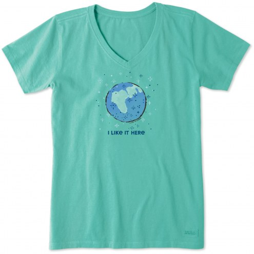 Life is Good Women's I Like It Here Crusher V-Neck T-Shirt