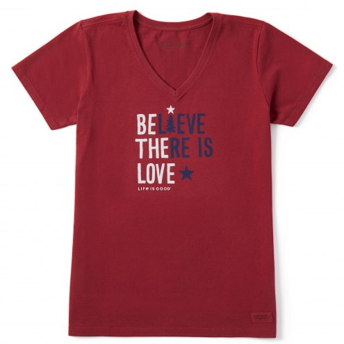 Life is Good Women's Believe There is Love Crusher V-Neck T-Shirt