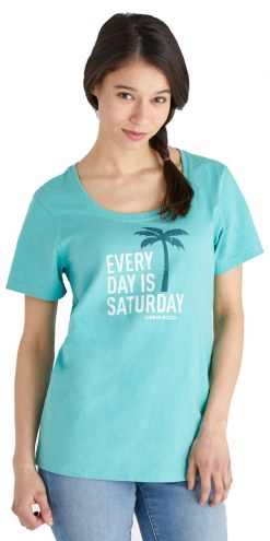 Life is Good Women's Every Day is Saturday Crusher Scoop Neck T-Shirt