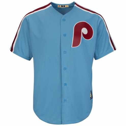 Philadelphia Phillies Cooperstown Columbia Blue Replica Baseball Jersey