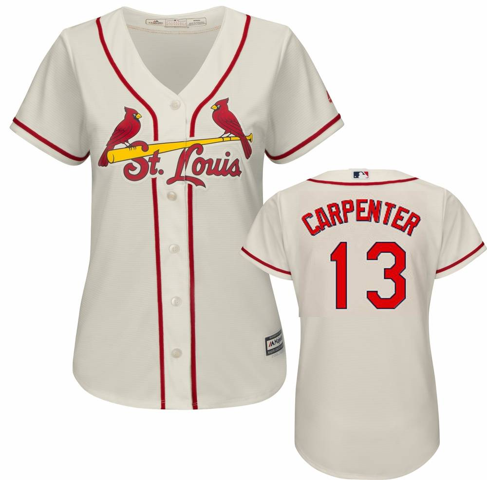 huge discount 2dbd7 76ec7 St. Louis Cardinals Matt Carpenter Women's Replica Ivory Alternate Baseball  Jersey
