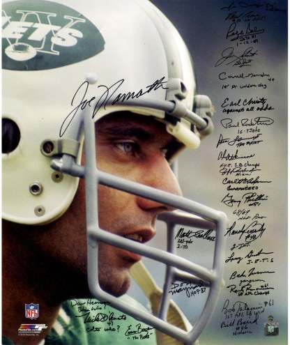 1969 New York Jets Team Signed Joe Namath Close Up Wearing Helmet 20x24 Metallic Photo (24 Signatures)