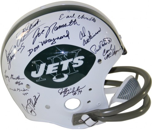 1969 New York Jets Team Signed Replica TK Style 65-77 Throwback Helmet (2-Bar Facemask) (24 Signatures)