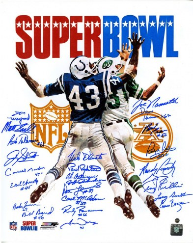 1969 New York Jets Team Signed Super Bowl III Program 16x20 Photo (24 Signatures)