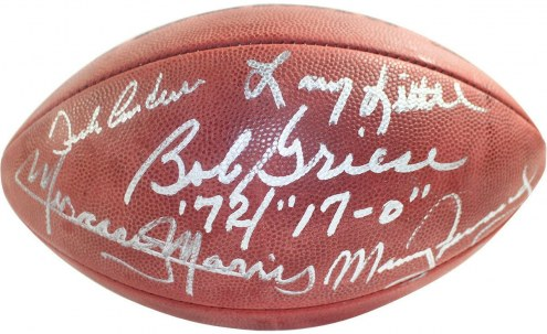 1972 Dolphins 5 Signature Wilson SB VI Football (Fernandez/Morris/Little/Anderson/Inscribe by Griese Only)