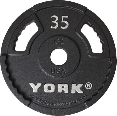 York 2 inch G2 Olympic Dual Grip Thin Line Steel Plate - 45 lb