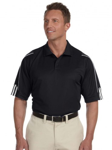 adidas Golf Men's Climalite 3-Stripes Cuff Polo Shirt