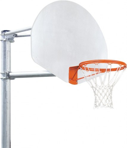 Porter 4' Vertical Post Playground Basketball Hoop with Fan Aluminum Backboard