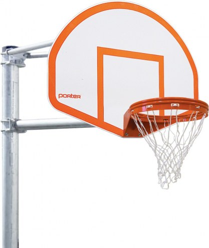 Porter 4' Vertical Post Playground Basketball Hoop with Fan Striped Aluminum Backboard