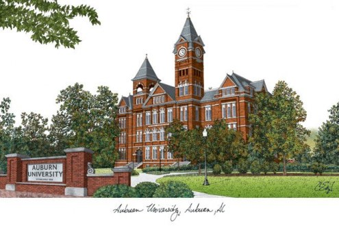 Auburn Tigers Campus Images Lithograph