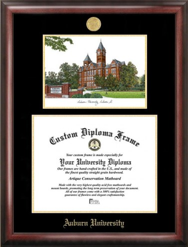 Auburn Tigers Gold Embossed Diploma Frame with Campus Images Lithograph