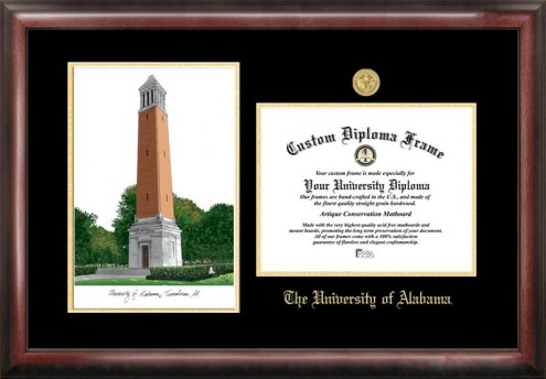 Alabama Crimson Tide Gold Embossed Diploma Frame with Campus Images Lithograph