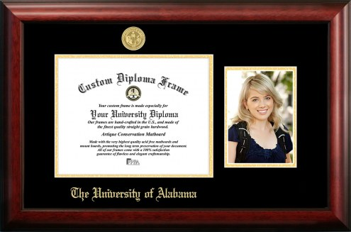Alabama Crimson Tide Gold Embossed Diploma Frame with Portrait