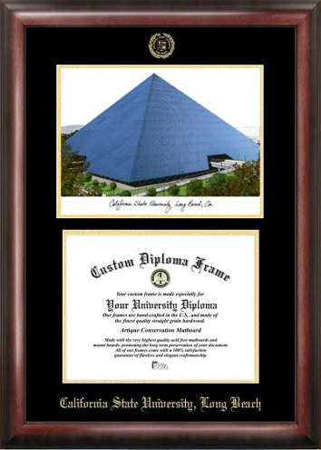 Long Beach State 49ers Gold Embossed Diploma Frame with Campus Images Lithograph