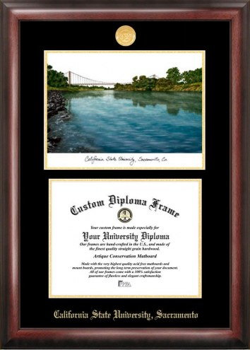 Sacramento State Hornets Gold Embossed Diploma Frame with Campus Images Lithograph