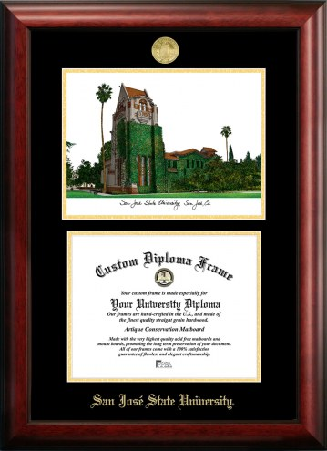 San Jose State Spartans Gold Embossed Diploma Frame with Campus Images Lithograph