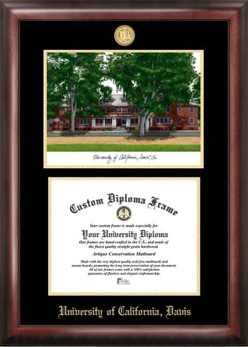 California Davis Aggies Gold Embossed Diploma Frame with Campus Images Lithograph