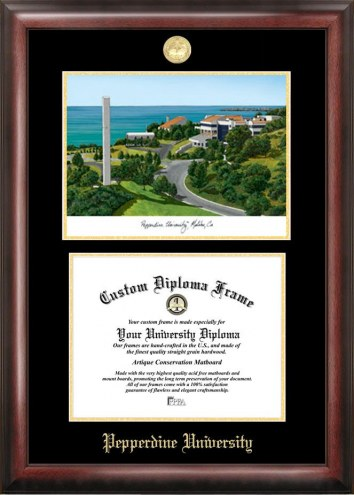 Pepperdine Waves Gold Embossed Diploma Frame with Campus Images Lithograph