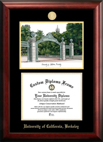 California Golden Bears Gold Embossed Diploma Frame with Campus Images Lithograph
