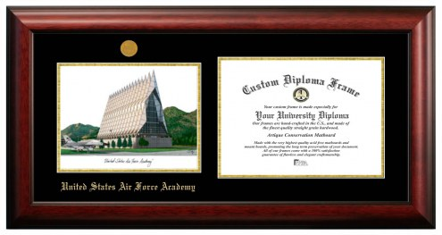 Air Force Falcons Gold Embossed Diploma Frame with Campus Images Lithograph
