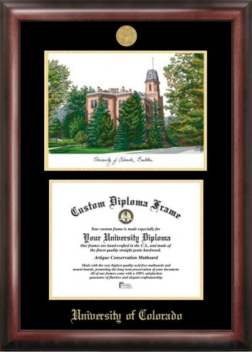 Colorado Buffaloes Gold Embossed Diploma Frame with Campus Images Lithograph