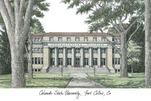 Colorado State Rams Campus Images Lithograph