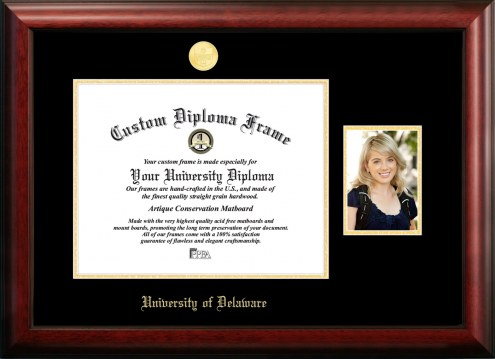 Delaware Blue Hens Gold Embossed Diploma Frame with Portrait
