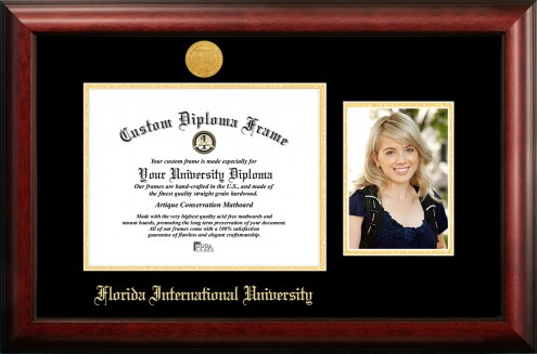 Florida International Golden Panthers Gold Embossed Diploma Frame with Portrait