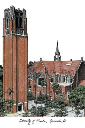 Florida Gators Campus Images Lithograph